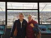 Heidi and Cornelia on the observation area of the Space Needle in Seattle, WA