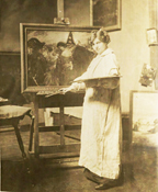 Theresa Bernstein at her easel with the lost painting Moonlight Masquerade, 1915
