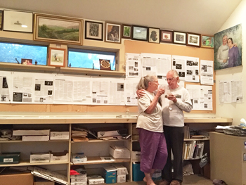 Cornelia Seckel & Raymond J. Steiner.  A toast as the last ink on paper issue of ART TIMES is ready to go to the print